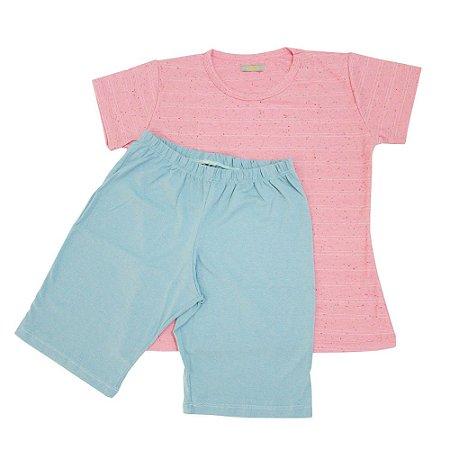 Pijama Bermuda Feminino Rosa Mescla
