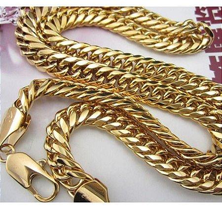Cordão Folheado Ouro 51cm Grumet Duplo