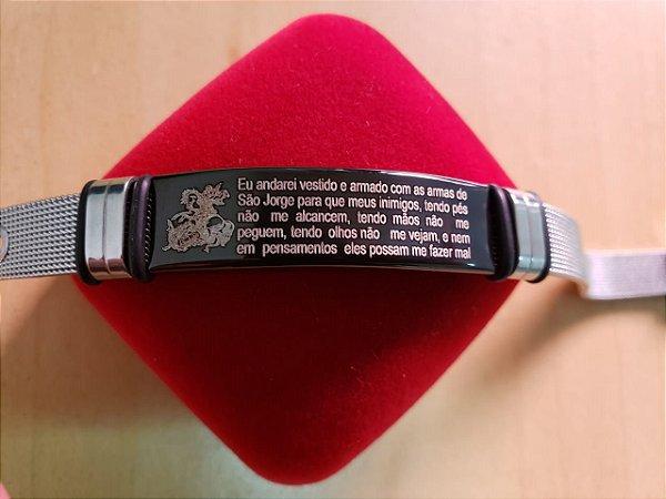Bracelete Aço Oração de São Jorge (Português)