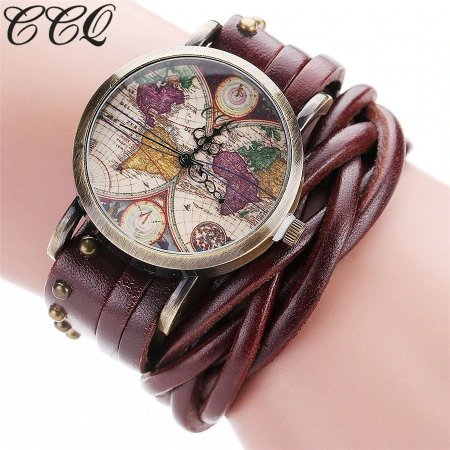 Relógio CCQ Vintage Mapa Mundi