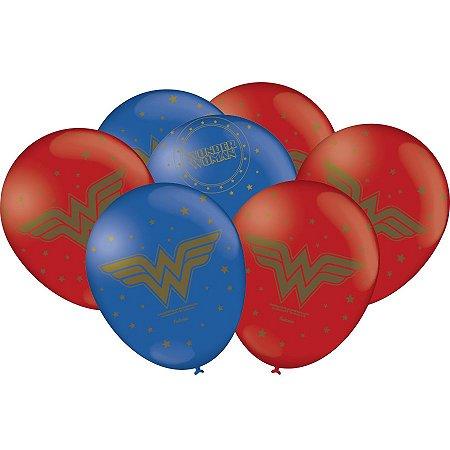 Balão látex 9'' Mulher Maravilha com 25 unidades