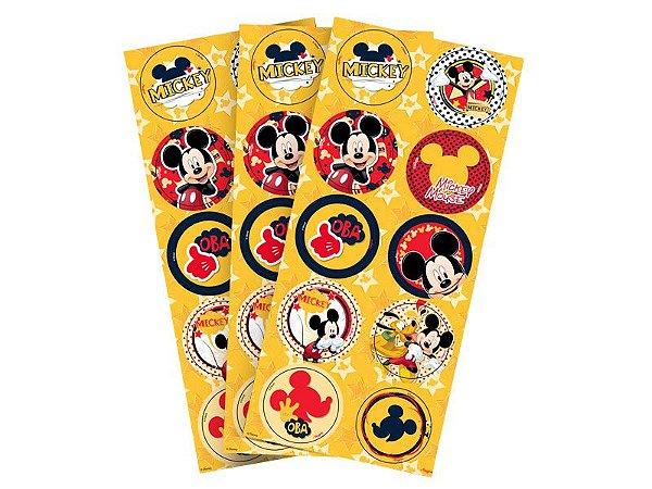Adesivo Redondo Mickey 30 unidades
