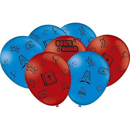 Balão Látex 9'' 3 Palavrinhas com 25 unidades