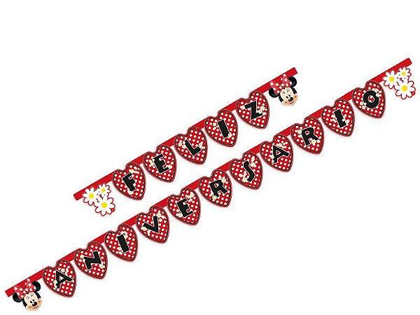 Faixa Feliz Aniversario Red Minnie