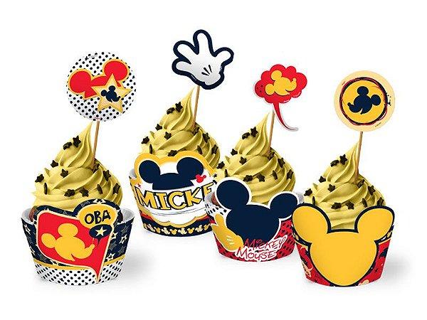 Cupcake Wrap Com Enfeite Mickey Classico Com 12 Unidades