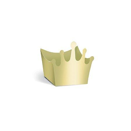 Forminha Para Doce Coroa Ouro Brilho Com 24 Unidades