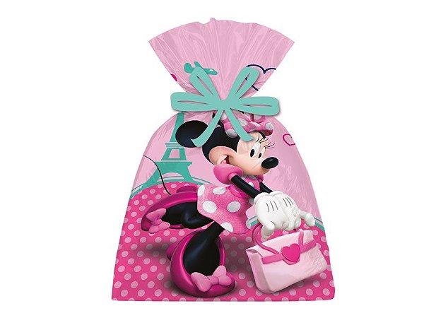 Sacola Plástica Minnie Rosa Com 08 Unidades