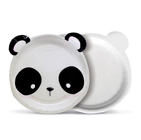 Prato Redondo Panda 18Cm com 08 Unidades