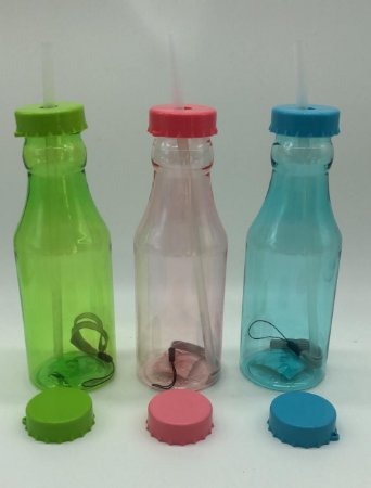 Garrafa com 2 tampas, 1 canudo 400 ml rosa, azul ou verde