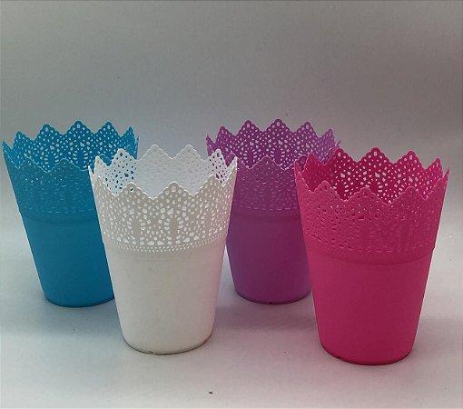 Cachepot rosa, azul, branco ou lilás 11x13,7cm