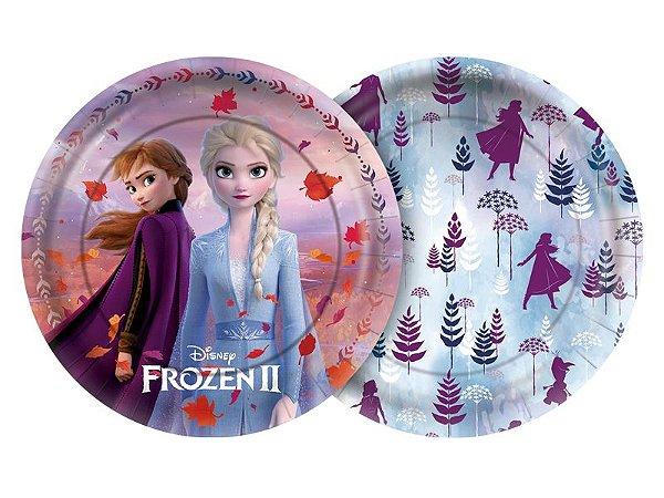 Prato redondo Frozen II 18cm com 8 unidades