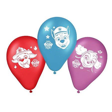 Balões látex Patrulha Canina com 25 unidades