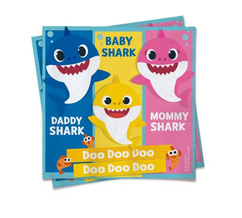 Guardanapo Baby Shark com 20 unidades