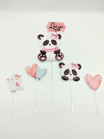 Topo de bolo Panda Rosa