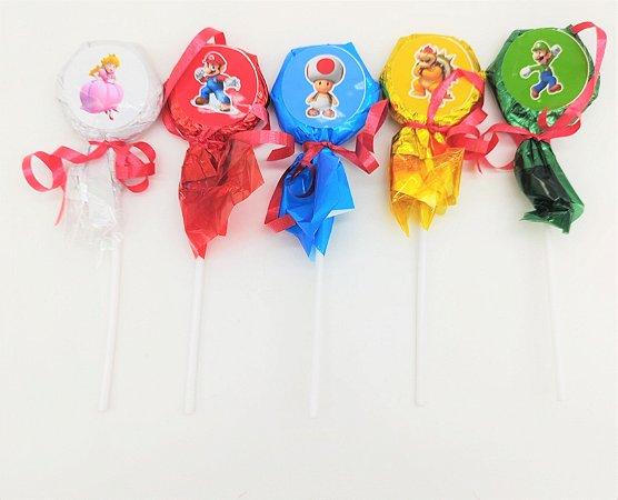 Pirulito Super Mario com 10 unidades
