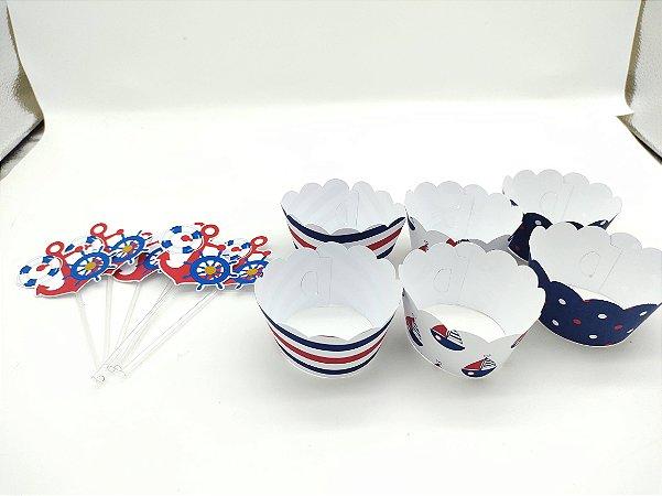 Kit para cupcake Ursinho Marinheiro com 06 unidades