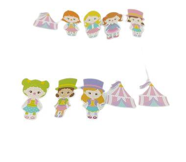 Pick decorativo Circo Rosa com 12 unidades