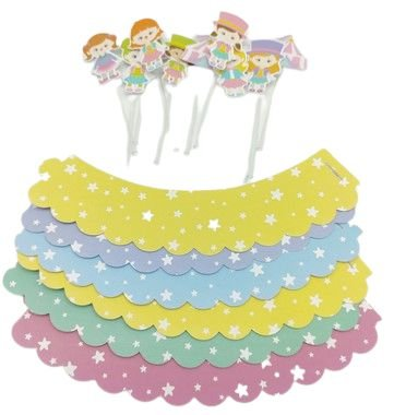 Kit para cupcake Circo Rosa com 06 unidades