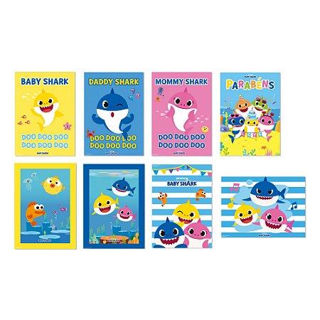Cartazes decorativos Baby Shark com 08 unidades