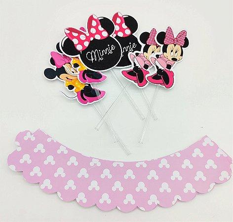 Kit Cupcake Minnie Rosa com 6 unidades