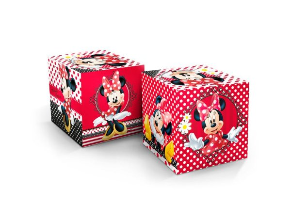 Cubo Decorativo Minnie Clássica com 03 unidades