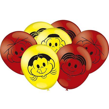 Balão látex 9'' Turma da Mônica com 25 unidades