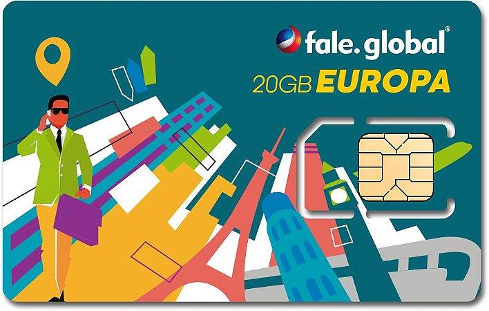 CHIP EUROPA com 20GB Internet 4G - Viagens até 14 dias