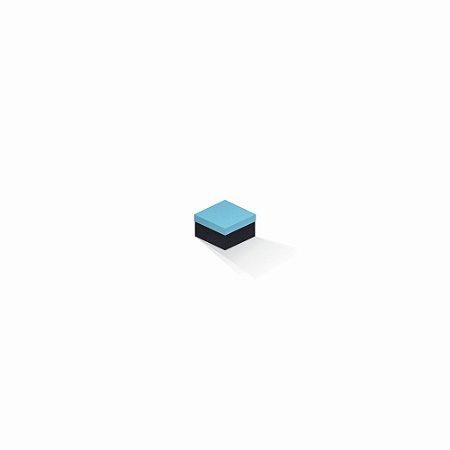 Caixa de presente | Quadrada F Card Azul-Preto 5,0x5,0x3,5