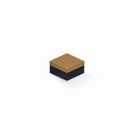Caixa de presente | Quadrada F Card Ocre-Preto 9,0x9,0x6,0