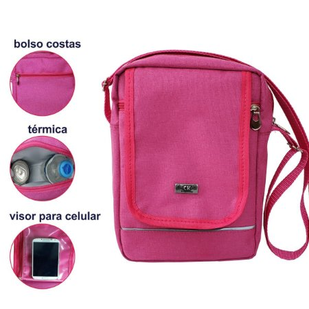 Bolsa Feminina Shoulder Bag Termica Rosa Pink CK Presentes