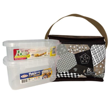 Kit com Bolsa Térmica Marrom + 2 Potes Plásticos