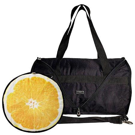 Bolsa Tiracolo Dobrável Compacta Laranja Limão Kiwi