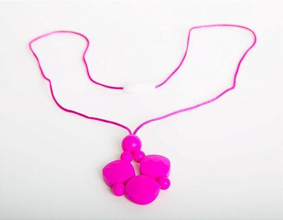 Colar Mordedor de Pingente Silicone Rosa Pink