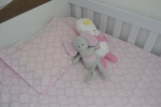 kit lençol de berço (Padrão Americano) Trully pink
