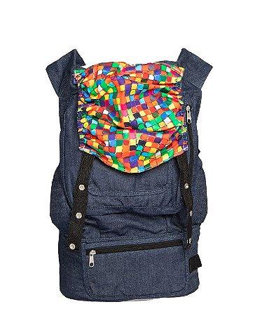 ErgoSlingaê Toddler Jeans Capuz Quadradinhos coloridos (a partir de 22 meses)