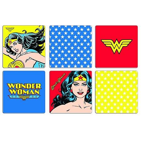 Conjunto 6 porta copos de MDF Mulher Maravilha (Wonder Woman) - DC Comics