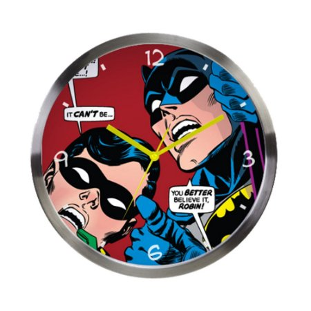Relógio de parede de metal Batman e Robin - DC Comics