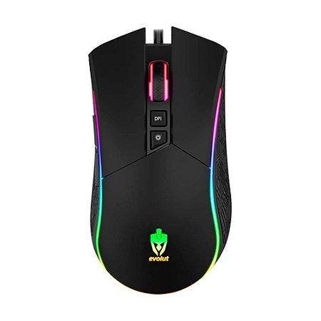 Mouse Gamer EVOLUT Skadi RGB EG-106 RGB 4800 DPI 7 Botões PRO
