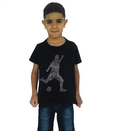 """Camiseta Infantil - Preta - """"FUTEBOL EM VÁRIOS IDIOMAS"""""""