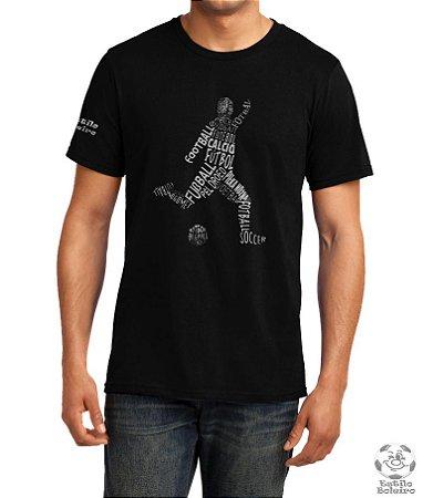 Camiseta Masculina Preta Futebol em vários Idiomas