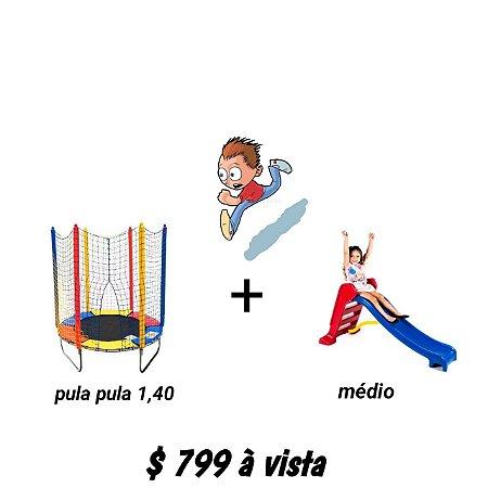 Kit Cama Elástica 1,40m + Escorregador Médio