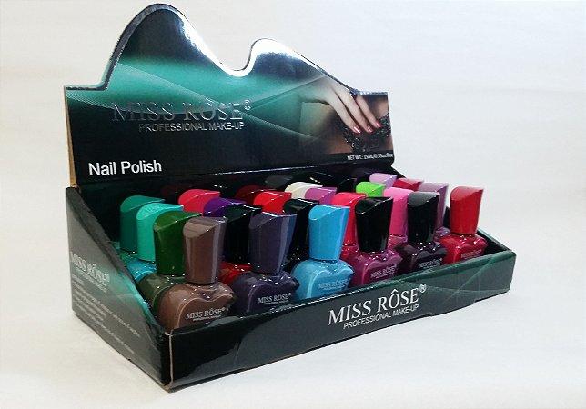 Coleção esmaltes Miss Rôse com 24 esmaltes