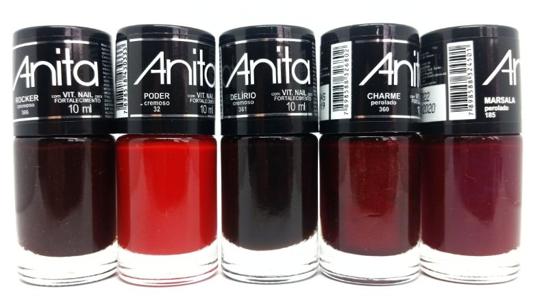 Kit com 05 esmaltes Anita