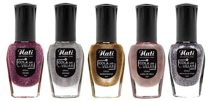 Coleção de Esmaltes Nati Ultra Glitter Cola na Villar 5 Free