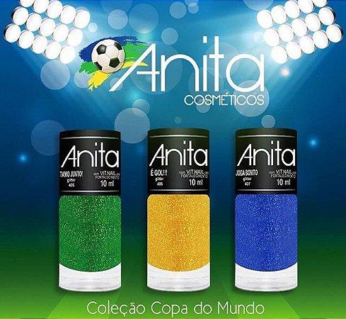 Coleção de Esmaltes Gliter Anita Brasil com 03 Esmaltes