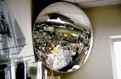 Espelho Convexo 300mm - acabamento em alumínio vidro Anti estilhaçante