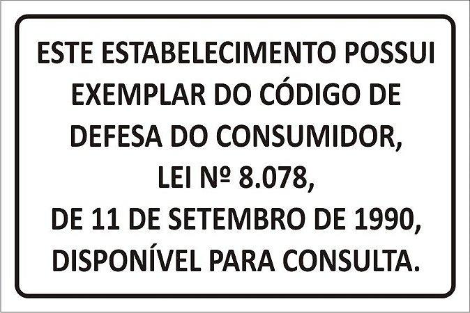 Código de Defesa do Consumidor em PVC 1mm