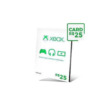 Cartão Xbox Live Brasil R$ 25 reais