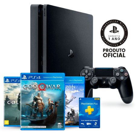 Console PlayStation 4 Slim 1TB + 3 Jogos Exclusivos + 3 Meses PlayStation Plus - Sony