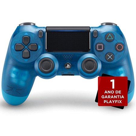Controle Sony Dualshock 4 Blue Crystal sem fio (Com led frontal) - PS4